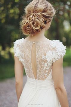 wedding dress // illusion necklines lace flowers For more bridal Inspiration follow us at Lola Bee and Me