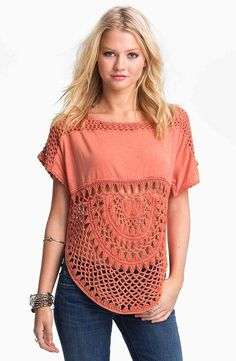 crochet  fabric top