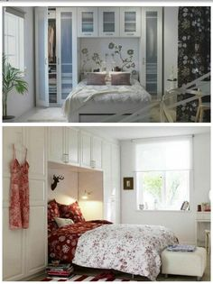 The closet made above bed saves lot of space and looks good ...