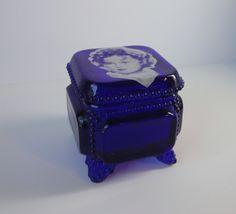 WESTMORELAND Cobalt Blue Glass Shirley Temple Trinket Box. by Cosasraras on Etsy