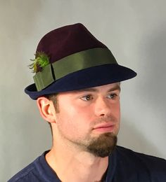 Sam,  Fur Felt Trilby Fedora men's hat,  two-tone color navy and maroon with olive grosgrain trim by LuminataCo on Etsy https://www.etsy.com/uk/listing/498396864/sam-fur-felt-trilby-fedora-mens-hat-two