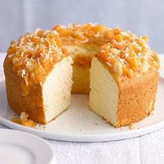 When you're in a rush, spoon this tempting nut-and-apricot topper over purchased angel food cake instead of the pineapple cake.