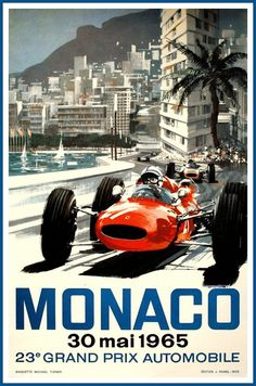 Monaco Grand Prix 1965 Ferrari Print by BloominLuvly on Etsy