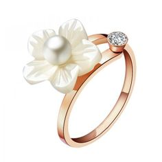 Seashell Flower and Pearl Ring