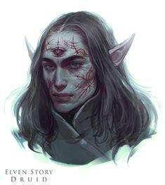 Elven Story Druid - portrait, Naz Nemati on ArtStation at https://www.artstation.com/artwork/E5m9v