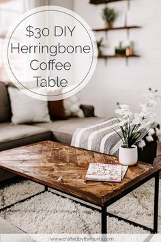 30 DIY Herringbone Coffee Tabletop - Crafted by the Hunts Table Ikea, Table Cafe, Diy Table Top, Diy Coffee Table, Coffee Table Design, Table Bench, Bench Seat, Plywood Furniture, Design Furniture