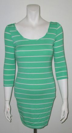 SCOOP BACK STRIPE MINT GREEN AND WHITE BODYCON DRESS SIZES SMALL, MEDIUM AND LARGE.