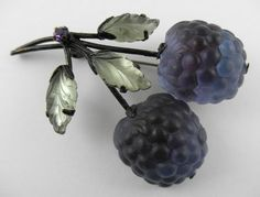 Vintage Austria Molded Frosted Glass Fruit Blackberry Pin