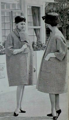 1959 coats Hubert de Givenchy and Balenciaga <--- My sister just commented that you could hide a ham under that coat and nobody would know. Either way, I like the hats and the pattern of the coats.