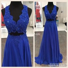 Real Images Royal Blue Prom Dresses Two Pieces V Neck Appliqued Beaded…