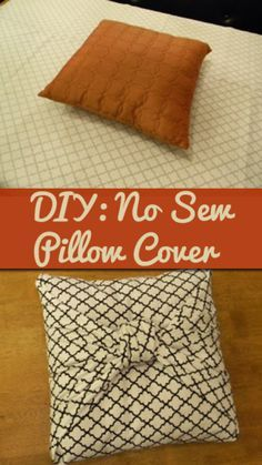 DIY No Sew Pillow Covers ~ just fold and tie fabric!