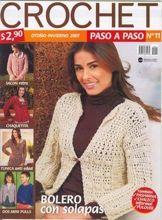 Album Archive - Crochet otoño invierno 2007 paso a paso Nro 11 Crochet Lace Edging, Crochet Chart, Crochet Stitches, Crochet Book Cover, Crochet Books, Knitting Magazine, Crochet Magazine, Crochet Cardigan, Knit Crochet