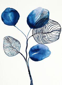 Indigo blue eucalyptus Mini Art Print by myartspace - Without Stand - x Watercolor Art Paintings, Painting & Drawing, Watercolor Flowers, Watercolor Print, Leaf Art, Botanical Art, Flower Art, Art Projects, Art Drawings