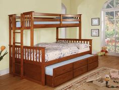 Twin/Full Bunk Bed With Trundle University Collection Cm-Bk458-Oak This space saving twin over twin bunk bed is finished in two colors, has a matching five drawer chest, side ladder for easy access to the top bunk and optional twin trundle with three drawers. Bunk Bed Sale For $645