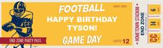 Football Game Time Personalized Text Vinyl Banner from BirthdayExpress.com