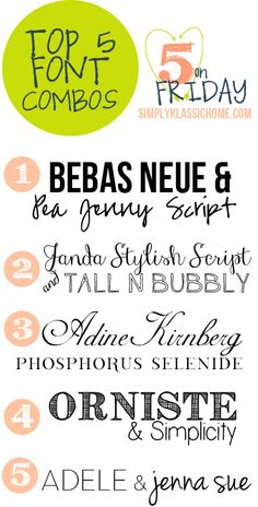 Top Five Font Combinations {Five on Friday} - Yellow Bliss Road