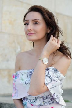 Summer Style *Naked Shoulders *Fugly *Floral dress *Ladylike *Pink *Skagen watch *Golden accessories *Golden watch  www.cristinafeather.com