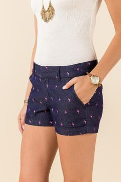 Trista Flamingo Print Shorts