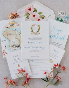 This Four Seasons Resort Lanai Wedding Is Your Ticket To Paradise: Save the Dates, illustrated maps, gorgeous invitations, and everything else guests may need to know about your wedding all in one beautiful package!