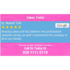 Amazing cakes and fast delivery! Very professional customer service as well! I recommend...