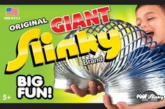 Giant Slinky is the big daddy of all Slinkys--70% larger than the original Slinky for mega size fun! It stretches farther, flips higher, and walks down taller steps.