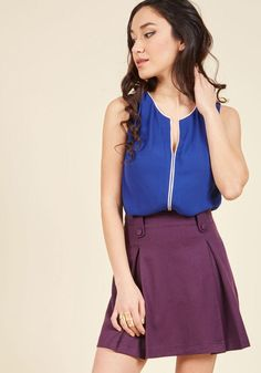 #ModCloth - #ModCloth Podcast Co-Host Sleeveless Top in Cobalt in 2X - AdoreWe.com