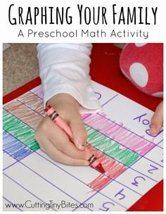 Simple graphing activity for preschoolers to develop early math skills. Great to use for a homeschool Pre-K theme on family. Preschool Family Theme, Preschool At Home, Preschool Lessons, Preschool Learning, Montessori Preschool, Montessori Elementary, Preschool Class, Preschool Ideas, Teaching Kids