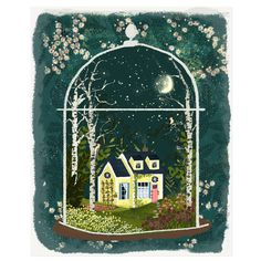 Yellow House with Birches - Terrarium Series no.3 by Joy Laforme