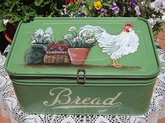 Free Ship Antique Bread Box Sage Green HP Rooster French Country Cottage