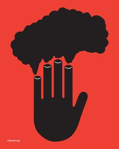 """I chose to design one for cleanair.org. With forced connections still being on my mind I designed a poster with a hand signifying """"stop"""". Each finger is also a smoke stack with a cloud of toxic smoke billowing out. Using this image on a red background clearly represents the message of """"stop air pollution."""""""