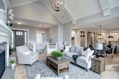 New Living Room Kitchen Open Concept Layout Interior Design 39 Ideas Modern Farmhouse Living Room Decor, Coastal Living Rooms, Living Room Kitchen, My Living Room, Coastal Farmhouse, Farmhouse Interior, Farmhouse Flooring, Coastal Cottage, Small Living Rooms