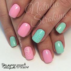Beautiful nails 2016, Beautiful summer nails, Bright summer nails, Glamorous nails, Manicure by summer dress, Mint and pink nails, Nails with acrylic powder, ring finger nails