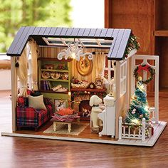 Flever Dollhouse Miniature DIY Christmas House Kit Creative Room With Furniture for Romantic Gift - Holiday Time