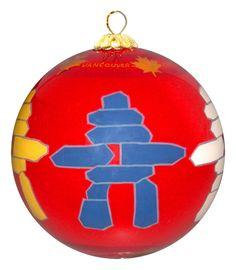 Vancouver Inukshuk Glass Ornament