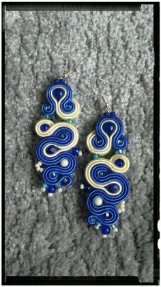 Soutache earrings blue with creme