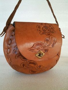 Reserved for Tess 70s Hand Made Tooled Genuine Leather Handbag / Purse / carved / leather stitching / flowers