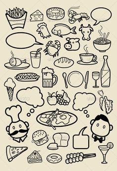 Restaurant Icon Sketches  #GraphicRiver         Food and beverage hand drawing icons. Good use for Restaurant menu, Food  beverage illustration, wallpaper, background, or any design you want. Easy to use, edit, or change color.