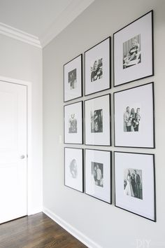 Make a statement with a symmetrical wall of frames. Love this hallway of frames and they're so easy to do #hallway #frames #gallerywall