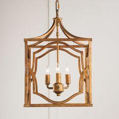 Small Modern Fretwork Frame Lantern aged_gold