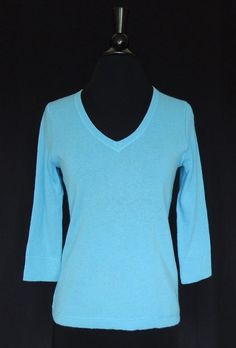 L L BEAN NEW 100% Cashmere Aqua Turquoise Blue V-neck 3/4 Sleeve Sweater Size S #LLBean #VNeck