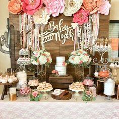 Baby Shower Dessert Table Idea #babygirl #babyshower
