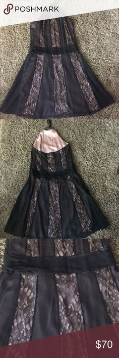 BCBGMAXAZRIA Dress Halter dress- baby pink soft underlay with a black lace overlay. Black gathered/ruching at waist, very flattering. Dress sits at bottom of knee or one inch below and im 5'6. Side zipper. Great condition. BCBGMaxAzria Dresses Midi
