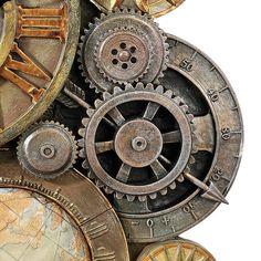 Gear Tattoo, Industrial Clocks, Gear Wheels, Gear Clock, Clocks For Sale, Steampunk Gears, Blue Led Lights, Wall Decor Set, Desenho Tattoo