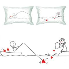 Catch My Heart Couple Pillowcase Set; for that.long distance relationship <3
