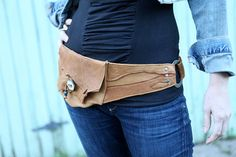 Pocket Belt Belt Bag Hip Pouch in Deerskin by oohlajena on Etsy