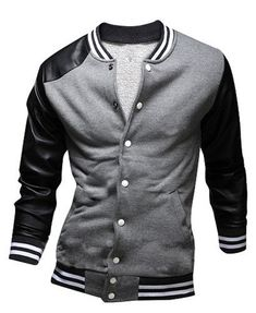 Slimming Trendy Stand Collar Color Block PU Leather Splicing Long Sleeve Polyester Jacket For Men #men, #hats, #watches, #belts, #fashion