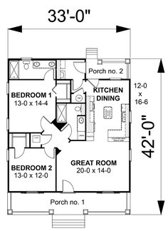First Floor Plan of Cottage Country House Plan 64586
