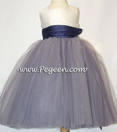 Grape (purple) and Ivory ballerina style FLOWER GIRL DRESSES with layers and layers of tulle