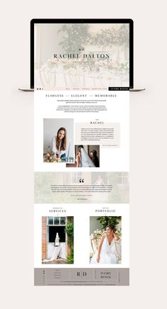 A Custom Showit Website Design for Rachel Dalton Weddings. Designed by Fleurir Creative. Brand Designer and Marketing Strategist for creative online business owners. #PhotoshopDesign