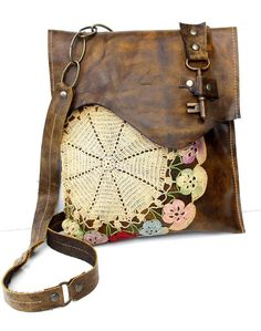Boho Leather Messenger Bag with Multi-Colored Crochet Doily and Antique Key - Medium - One Of A Kind from urbanheirlooms on Etsy. Crochet Purses, Crochet Doilies, Leather And Lace, Leather Bag, Estilo Hippie, Antique Keys, Boho Bags, Cute Bags, Leather Accessories